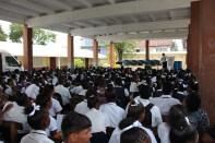 GPS President, Ann Wood, addresses students at Dolphin High School, Georgetown