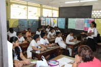 GPS President, Ann Wood, addresses students at Rama Krishna School